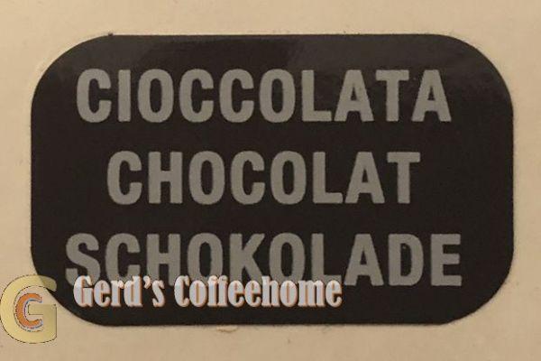 Produktetikette Schokolade